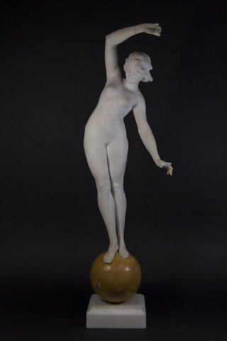 An Art Deco Carved Marble Figure of a Nude Dancer by 19th/20th Century Italian