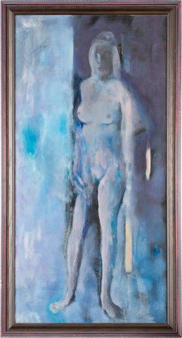Attributed to Harold Cohn - Nude in Blue by Harold Cohn