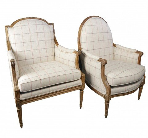 Two 18th c. French Bergeres, assembled pair, Louis XVIth period by 18th Century French School