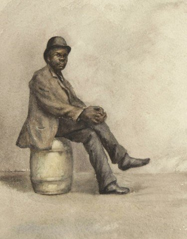 Gentleman Seated on a Barrel by 19th Century American School