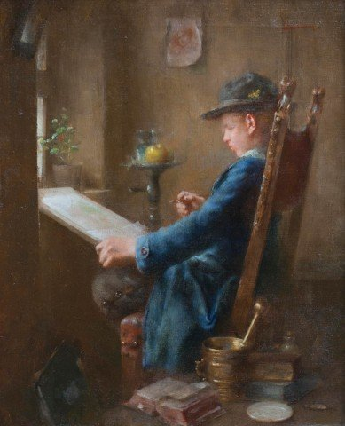 Young Artist at Work by Anton Laupheimer