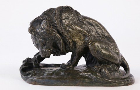 Lion with Snake by Antoine-Louis Barye
