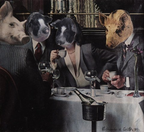 Abstract Figurative Animal Collage Art piece: