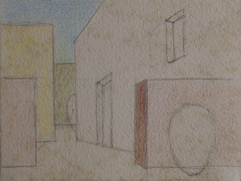Abstract Graphite and Colored Pencil on Paper Drawing: