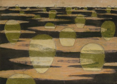Abstract Landscape Acrylic on Paper Painting: