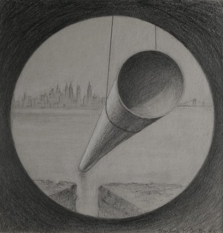 Landscape Graphite and Weight Heightening on Paper Drawing: