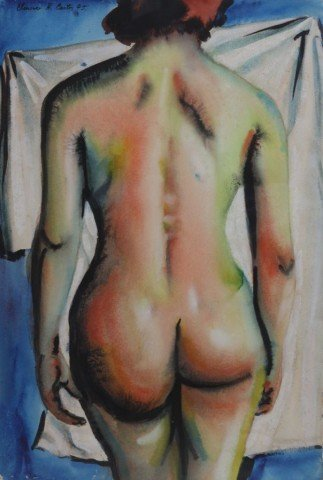 Figurative Watercolor and Ink on Paper Painting: