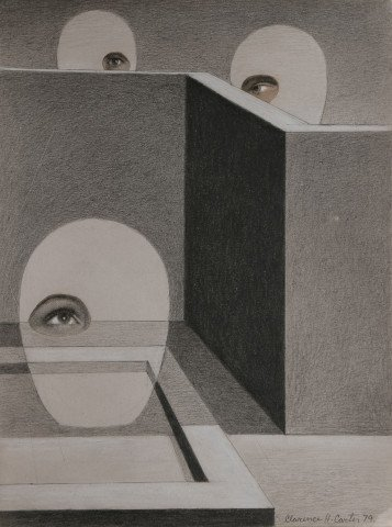 Abstract Graphite Collage and White Heightening on Cardboard Painting: