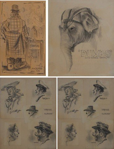 Lot of 4 Circus drawings, c.1944 by Milford Goldfarb