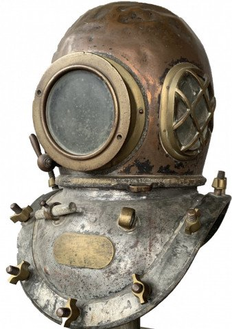 Early Twentieth Century Brass and Copper Diving Helmet by 20th Century School