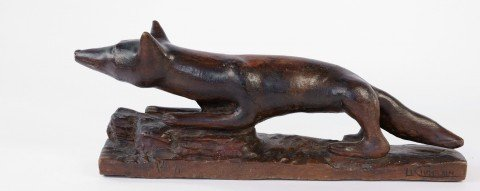 An Early 20thc. School Carved Wood Fox, Le Chatelain by 20th Century School