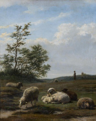Sheep in Landscape by Frans Lebret