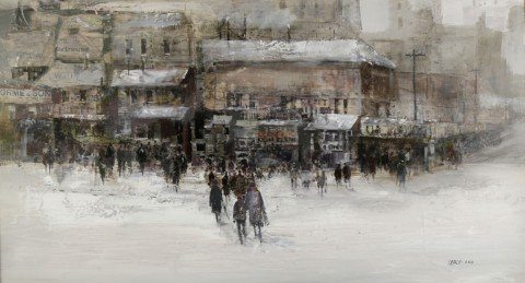 City in Snow by Fred Leach