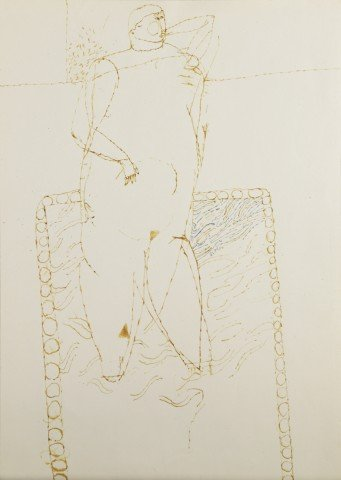 Figural Bistre and Blue Ink on Paper Drawing: