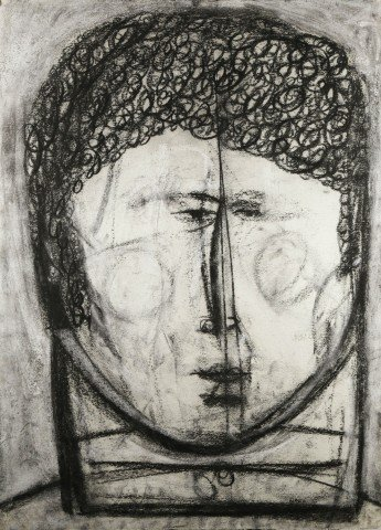 Figurative Charcoal and Gouache on Paper Drawing: