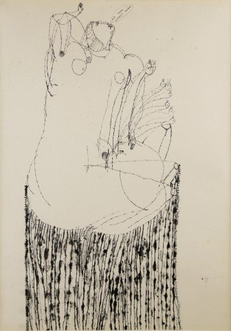 Figurative India Ink on Paper Drawing: