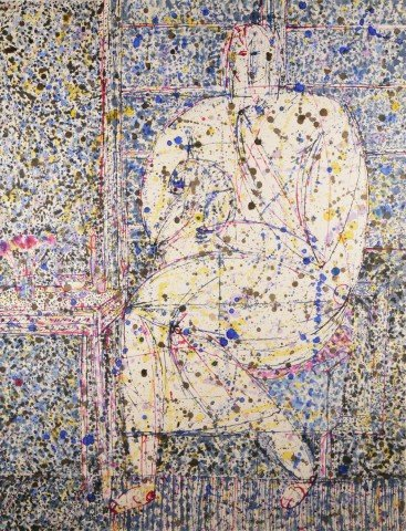 Seated Figure with Dog by Joseph Glasco