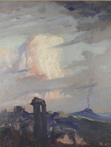 Romantic Landscape, View of Mt. Etna from Taormina by Henry George Keller