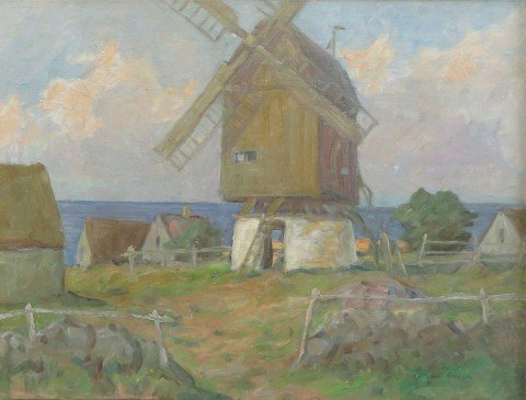New England landscape with Windmill by Henry Ward Ranger