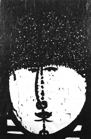 Figurative Ink on Paper with Glazing Painting: