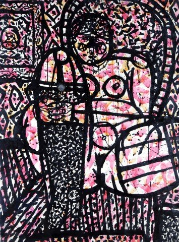 Abstract Figurative Colored Ink on Paper with Glazing Painting: