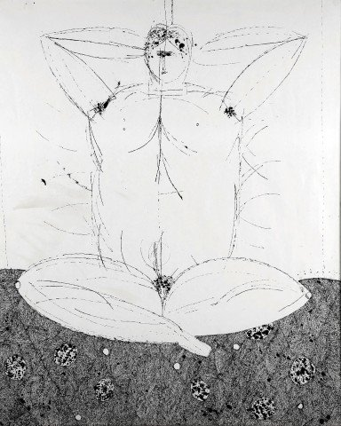 Abstract Figurative Ink on Paper Drawing: