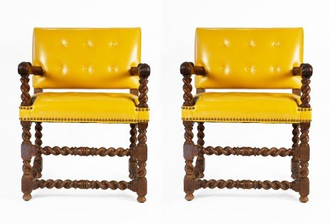 Pair of Late 17thc. English Open Armchairs with Canary Yellow Leather Upholstery by 17th Century British School