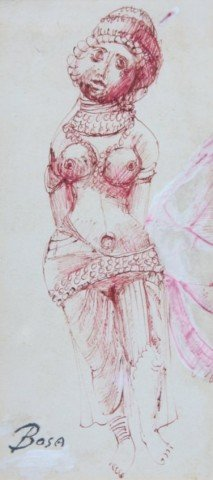 Figurative Red Ink on Paper Drawing: