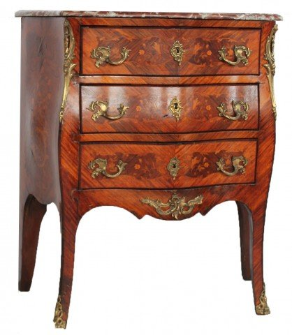 Louis XV Inlaid Marble Top Bombe Petite Commode, 18thc. by 19th Century Continental School
