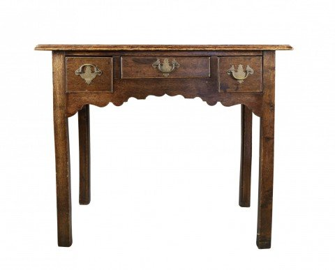 English George III Oak Lowboy by 18th Century British School