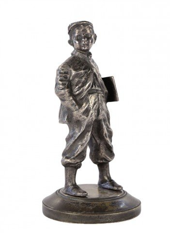 Figurative Silvered Bronze Sculpture:
