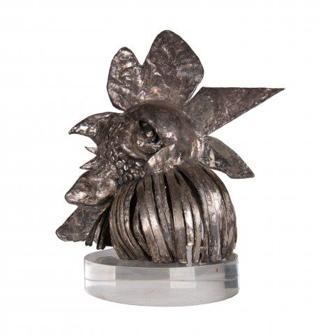 Animal Silver over Bronze on Oval Acrylic Base Sculpture: