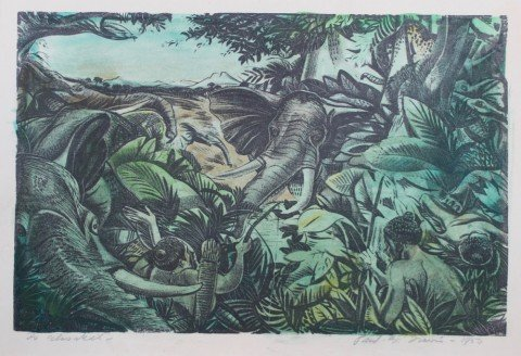 Jungle Scene with Elephants and Native Hunters by Paul Bough Travis
