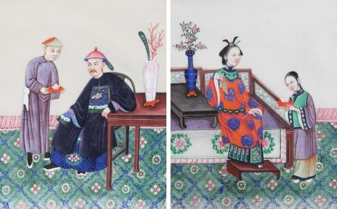 A Pair of Chinese Watercolor Paintings on Pith Paper by 19th Century Chinese School