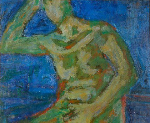 Seated Green Nude by William Schock