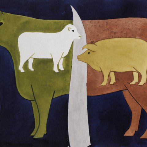 Animal Watercolor and Gouache on Paper Painting:
