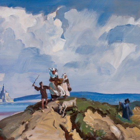 Breton Figures at Mt. St. Michel, France by Frank Nelson Wilcox