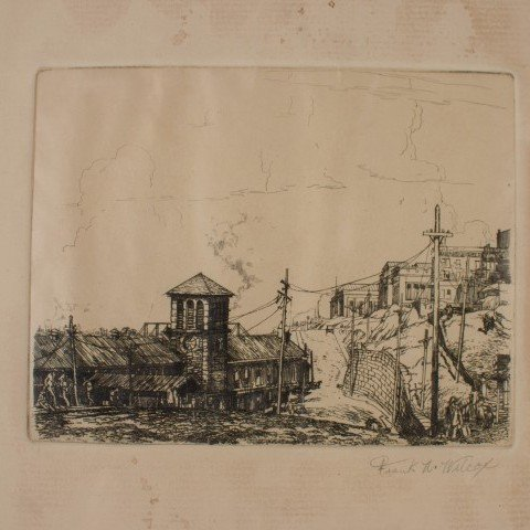 Landscape Etching on Paper Drawing: