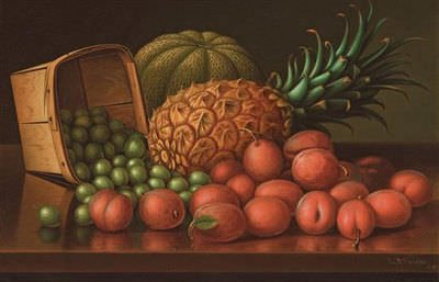 Still Life - Pineapples and Apricots by Levi Wells Prentice