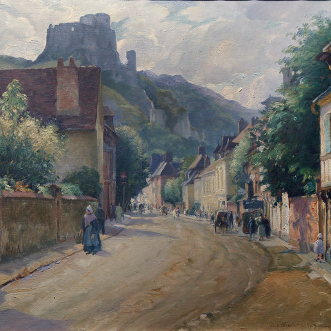 Les Andelys, Normandy with the ruins of Chateau Gaillard in the distance by Abel G. Warshawsky