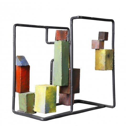 Abstract Painted Mixed Metal Sculpture:
