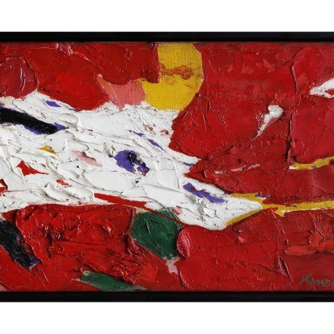 Abstract Oil on Canvas Painting: