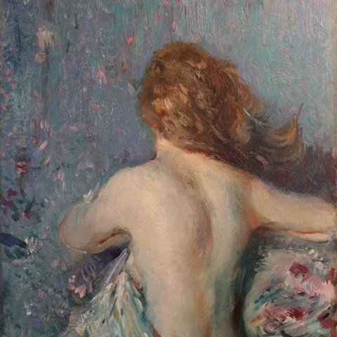 Nude Against a Flowered Cloth, Double Sided Painting by Adolphe Borie