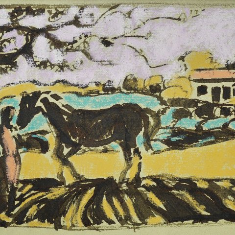 Figure with Horse in a Landscape by Algesa O'Sickey