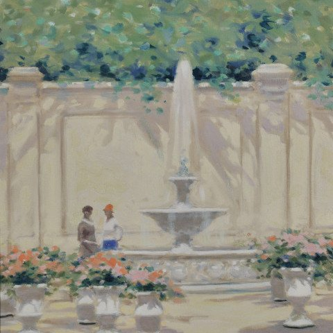 Parisian Scene of Figures by a Fountain by André Gisson