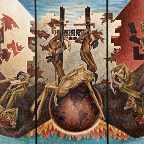 Anti-Facist Triptych by Clarence Van Duzer
