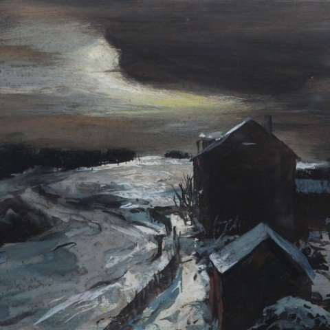 Icy Pond and Shack at Night by Carl Frederick Gaertner