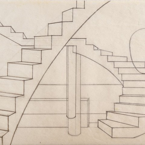Abstract Graphite on Paper Drawing: