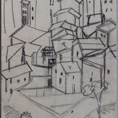 Landscape Graphite on Paper Drawing: