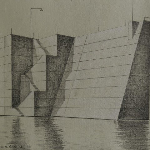 Landscape Graphite and White Heightening on Paper Drawing: